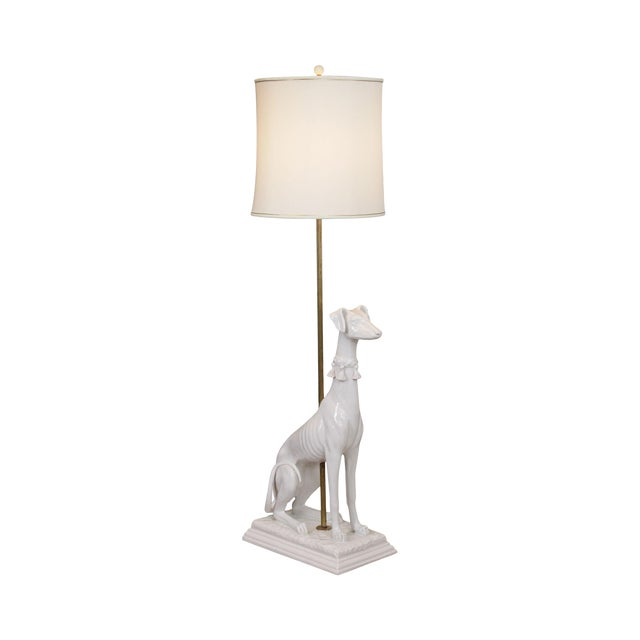 Mid Century Italian Pottery White Whippet Greyhound Dog Floor Lamp For Sale