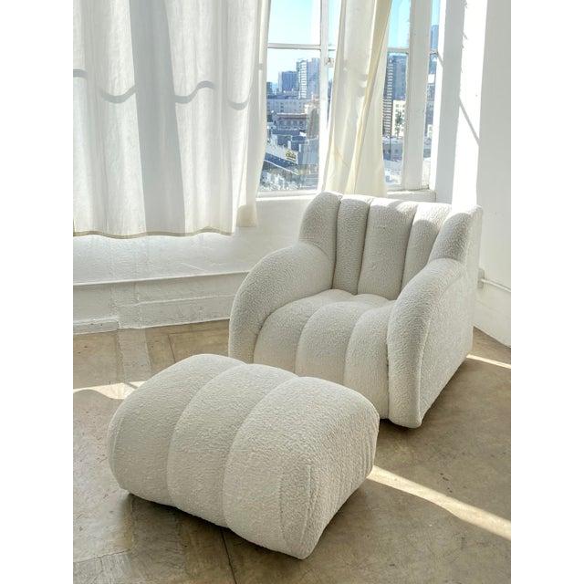 Postmodern Bouclé Clam Chair & Ottoman For Sale - Image 10 of 10