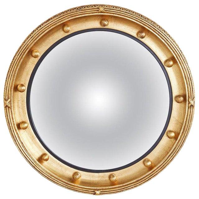 English Regency Style Round Convex Bullseye Mirror For Sale