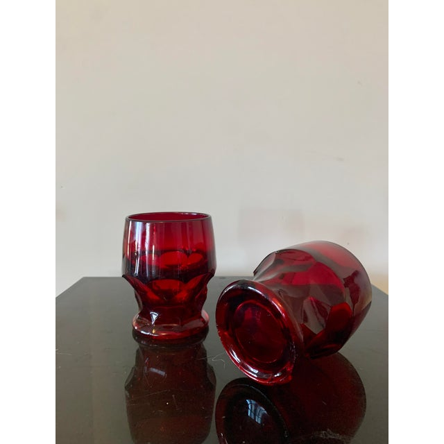 Vintage Viking Georgian Ruby Red Whiskey Glasses- Set of 7 For Sale In Los Angeles - Image 6 of 8
