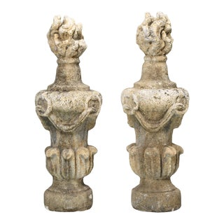 Pair of Very Large Hand-Carved Flame Stone Finials, Early 1800's From England For Sale