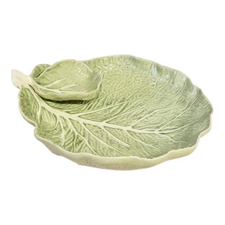 Bordallo Pinhiero Majolica Green Cabbage Leaf Chip and Dip Bowl For Sale