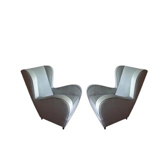 Pair of Light Blue/Green Wingback Chairs For Sale