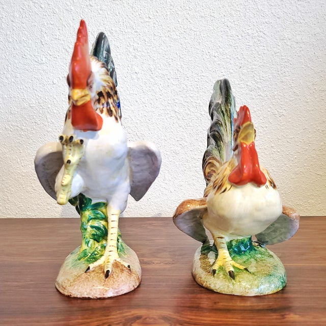 """Realism """"Fighting Cocks"""" Figurines by Urbano Zaccagnini (Pair) Florence, Italy For Sale - Image 3 of 10"""
