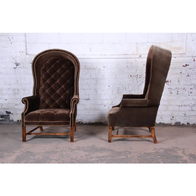 Mid 20th Century Midcentury Brown Velvet Porter's Chairs, Pair For Sale - Image 5 of 12