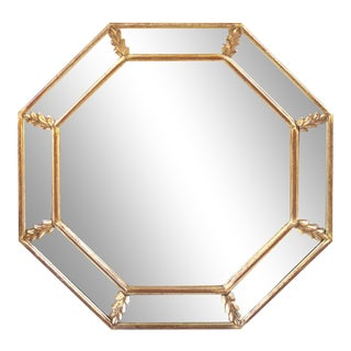 1960s French Giltwood Octagonal Wall Mirror For Sale