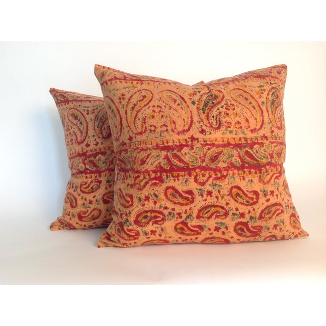 Pair of Indian Vintage Block Printed Kantha Quilt Pillows with natural linen back and hidden zipper. Inserts included.
