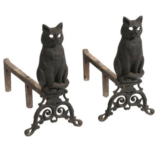 Cast Iron Cat Andirons For Sale