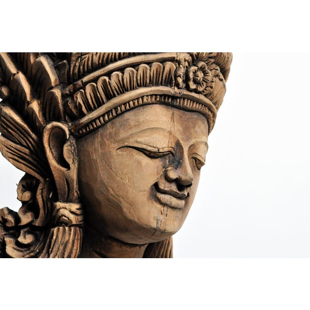 Southeast Asian Wood Carving Model of a Goddess For Sale - Image 12 of 13