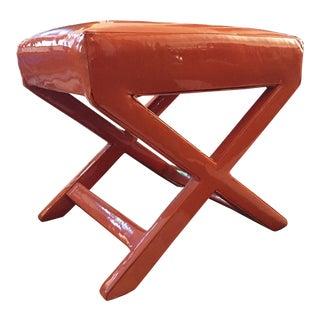 Mid-Century Billy Baldwin Style Patent Tangerine Orange Leather Stool Bench X Base Ottoman For Sale