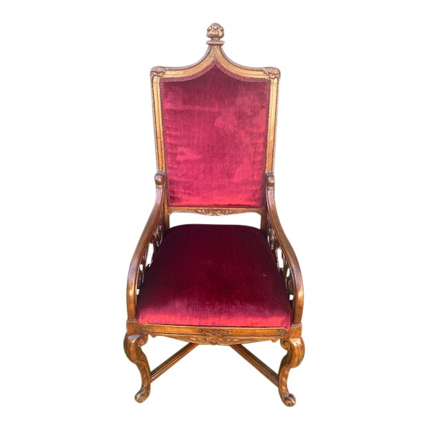 19th C. English Gothic Single Armchair For Sale