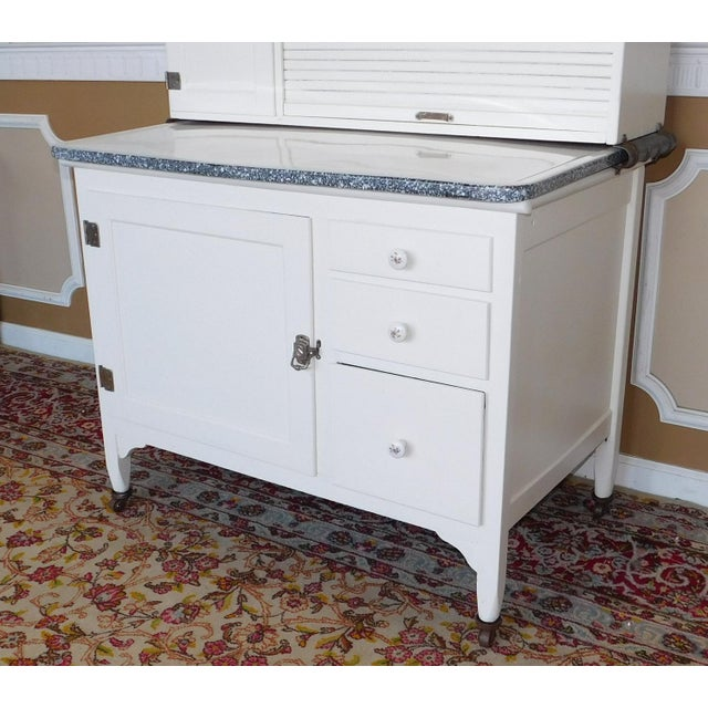 Antique Sellers Restored Painted White Hoosier Kitchen Cabinet C1890 For Sale In New York - Image 6 of 13
