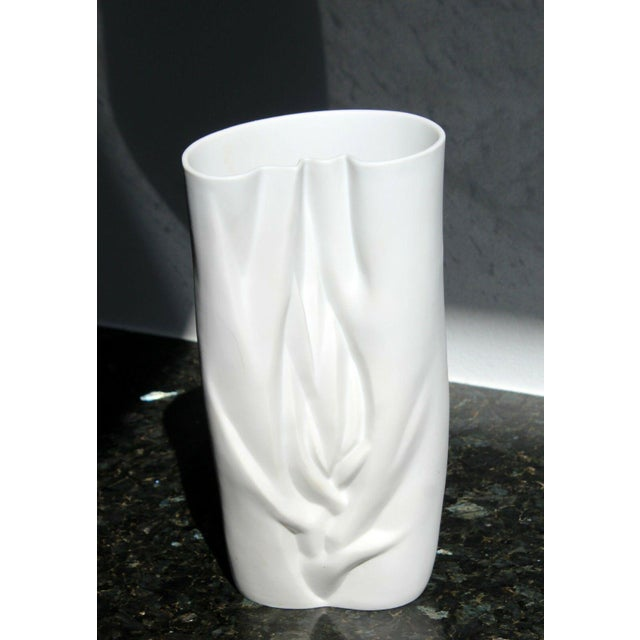 Late 20th Century Modernist White Porcelain Meissen Vase, Stamped For Sale - Image 5 of 5
