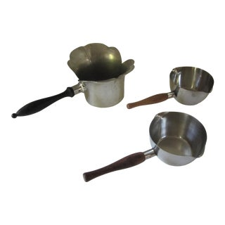 Vintage Pans With Wood Handles- 3 Pieces For Sale