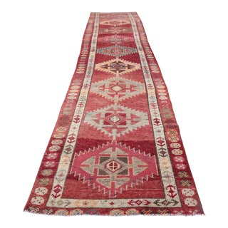 """1960's Vintage Turkish Hand-Knotted Long Runner-2'8"""" X 13'2"""" For Sale"""