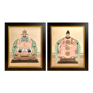 Chinese Ancestor Portraits Watercolor Paintings on Silk - a Pair For Sale