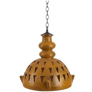 1960s Mid-Century Modern Studio Ceramic Hanging Pendant Light For Sale