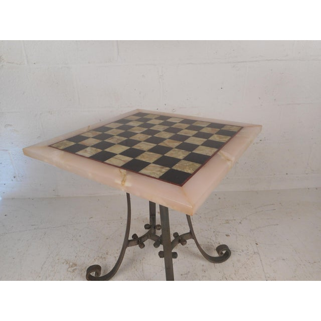 1960s Vintage Marble-Top Chessboard Game Table For Sale - Image 5 of 9
