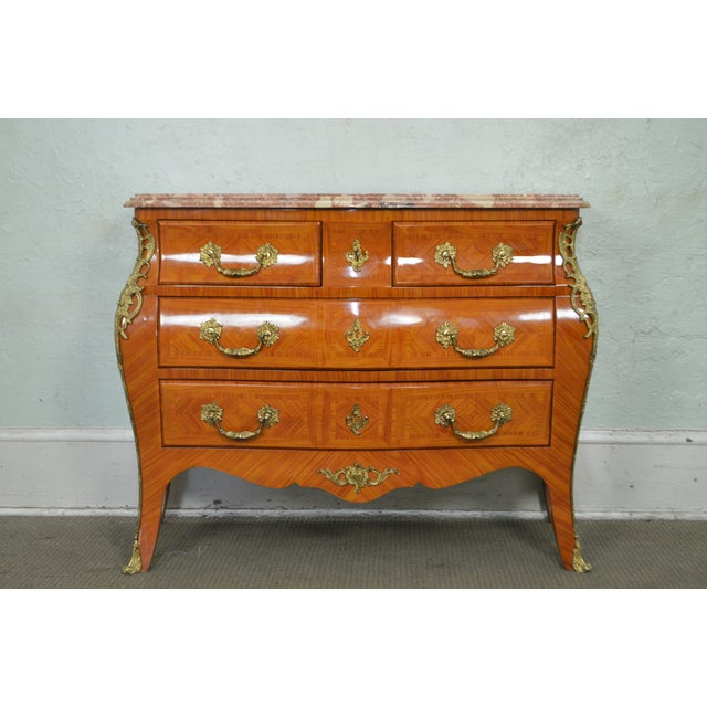Brass French Louis XV Style Marble Top Bombe Commode Chest of Drawers For Sale - Image 7 of 12