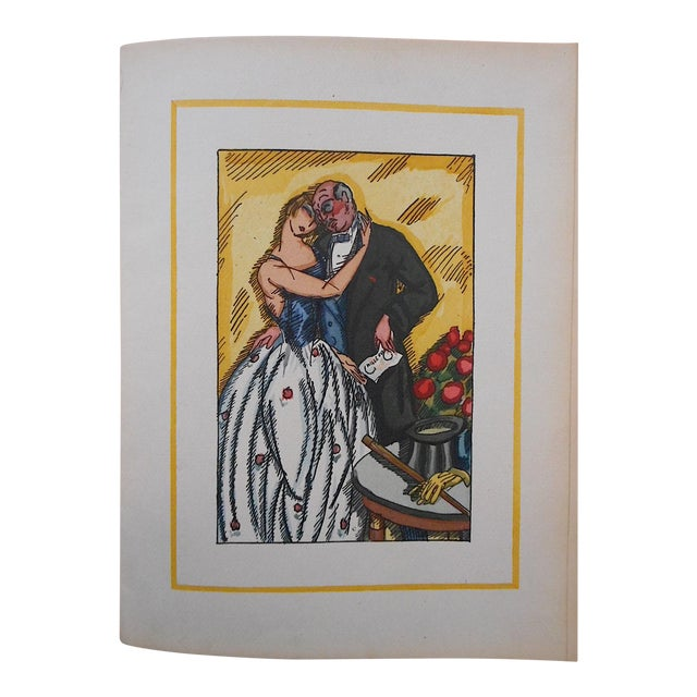 "Vintage Ltd. Ed. Hand Colored Image By Guy Arnoux""Les Femmes De Ce Temps""-L'Interessee- Self Interest-France-1920 - Image 1 of 8"