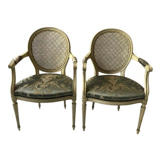 1960s Louis XVI Caned Back Armchairs - a Pair For Sale