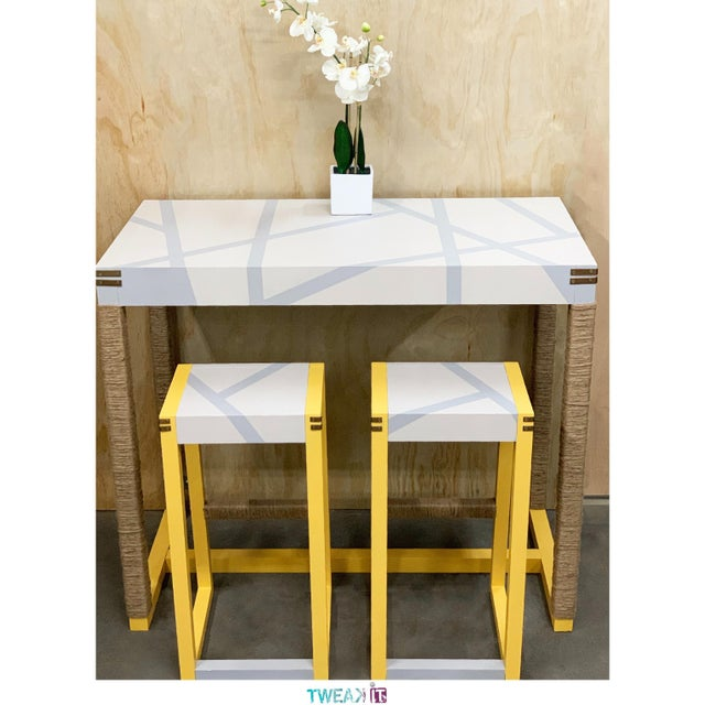 Amazing Yellow Jute Bar Table Stools Set Home Interior And Landscaping Pimpapssignezvosmurscom