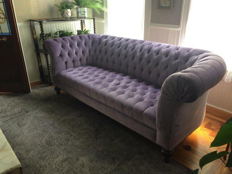 Super Glamorous Plush, Top Of The Line, Lavender Velvet Upholstered Chesterfield  Sofa, Deep