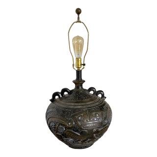 Mid-Century Aztec Ceramic Lamp For Sale