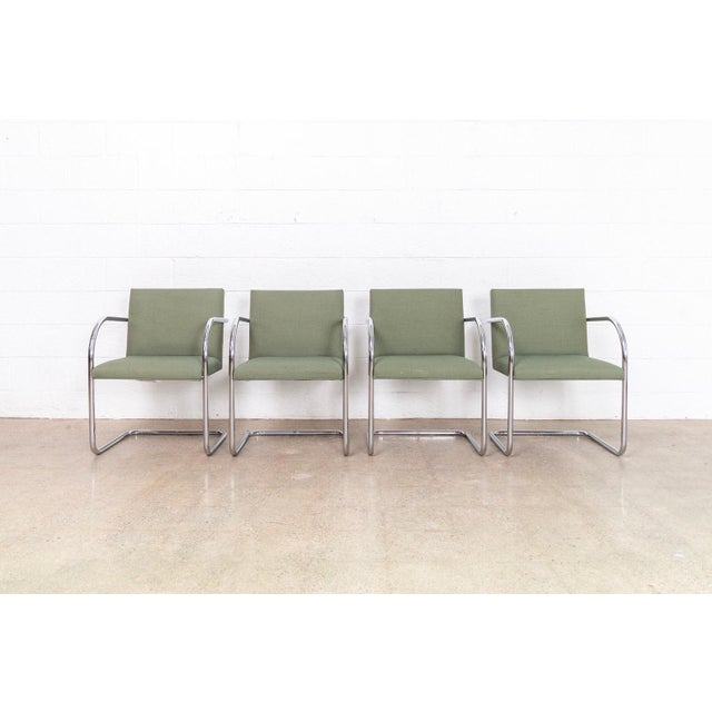 This set of four Mies van der Rohe BRNO armchairs made by Gordon International are circa 1990. These iconic mid century...
