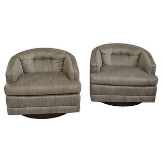 1970s Barrel Swivel Chairs - Pair