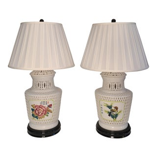 Hand Painted Blanc De Chine Lamps With Silk Shade - a Pair For Sale