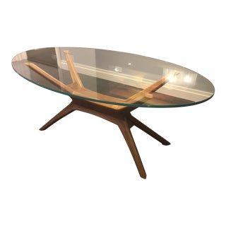Mid Century Modern Walnut Spider Dining Room Table For Sale