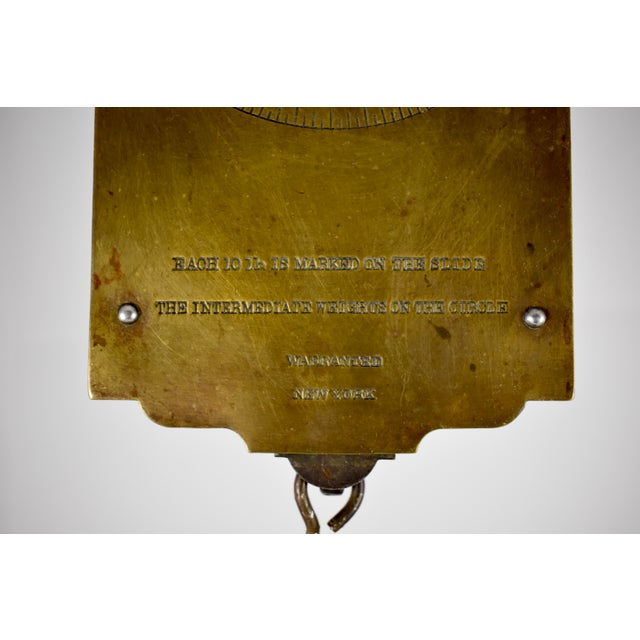Chatillion Hanging 30 Lb. Brass Mercantile Scale with Steel Tray For Sale - Image 4 of 11