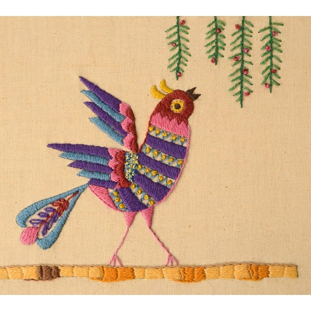 Mid-Century Modern Mid Century Three Birds Crewel Embroidery Wall Hanging For Sale - Image 3 of 13
