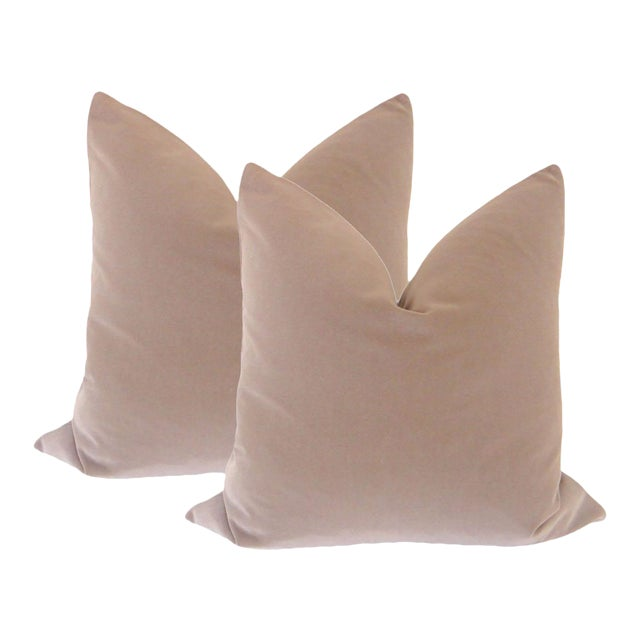 "22"" Taupe Velvet Pillows - a Pair - Image 1 of 4"