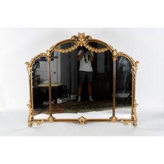 Antique Wood Framed Gilded Bevelled Hanging Mantel Mirror Preview