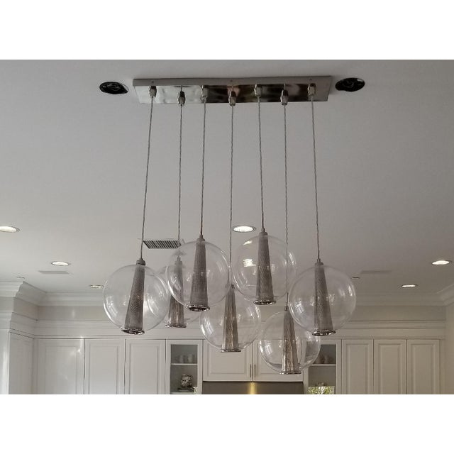 Glass Arteriors Caviar Linear Suspension Pendant Lighting For Sale - Image 7 of 7