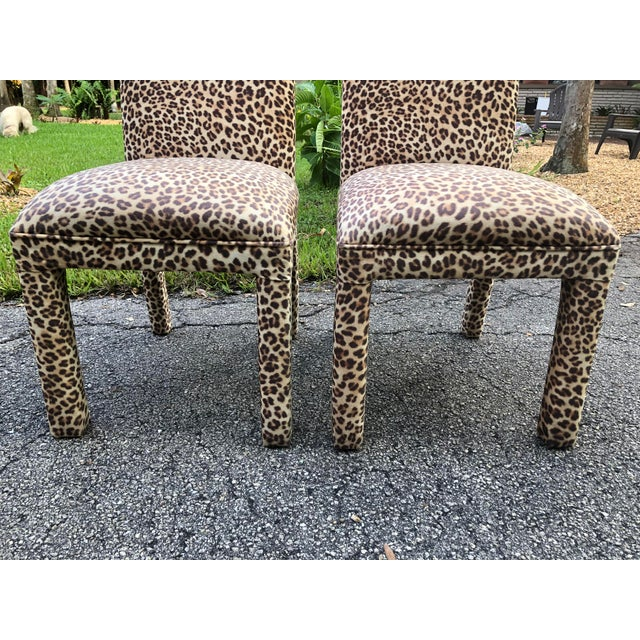 Brown Leopard Print Parsons Dining Chairs - Set of 2 For Sale - Image 8 of 9
