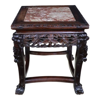 Chinese Carved Rosewood Marble Top Plant Stand For Sale