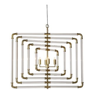5 Layer Brass Spiral Acrylic Stream Chandelier For Sale