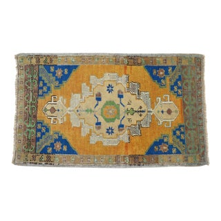 Distressed Low Pile Turkish Yastik Petite Rug Faded Mat - 24'' X 39'' For Sale