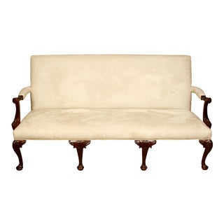 George III Style Mahogany Settee in Suede For Sale