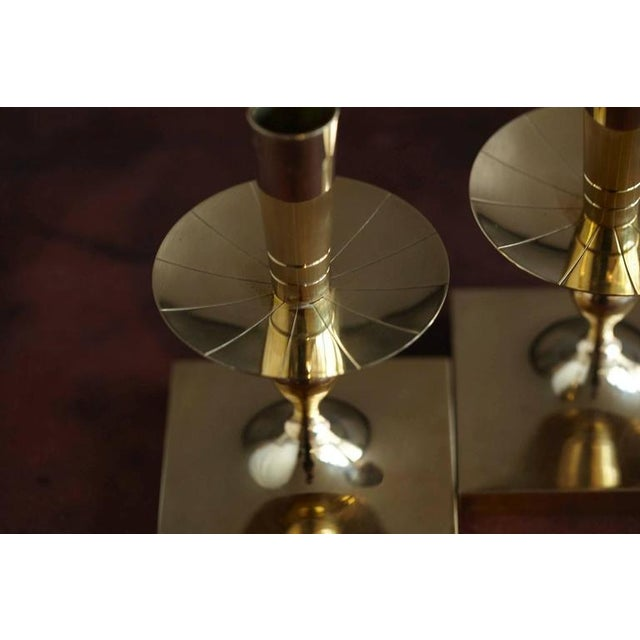Brass Pair of Tommi Parzinger Brass Candleholders Made by Dorlyn Silversmiths For Sale - Image 7 of 7