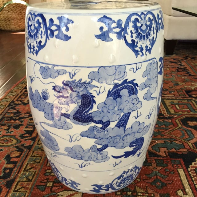 Large Chinoiserie Ceramic Garden Stool - Image 2 of 9