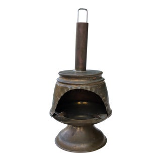Vintage Chilean Solid Brass Malm Fireplace Miniature For Sale