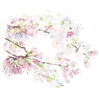 Watercolor Painting of Cherry Blossom Bunches For Sale