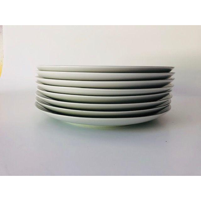 "Mid-Century Modern Vintage Empress China Japan ""Rosetta"" Pattern Set of 8 Dinner Plates For Sale - Image 3 of 5"