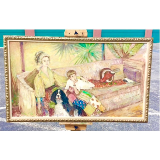 Blue Oil Portrait of Mother and Son by Ouida George For Sale - Image 8 of 8
