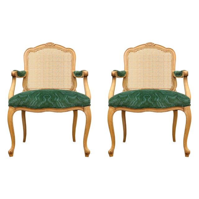 Malachite Velvet Century Brand Caned French Chairs - a Pair For Sale