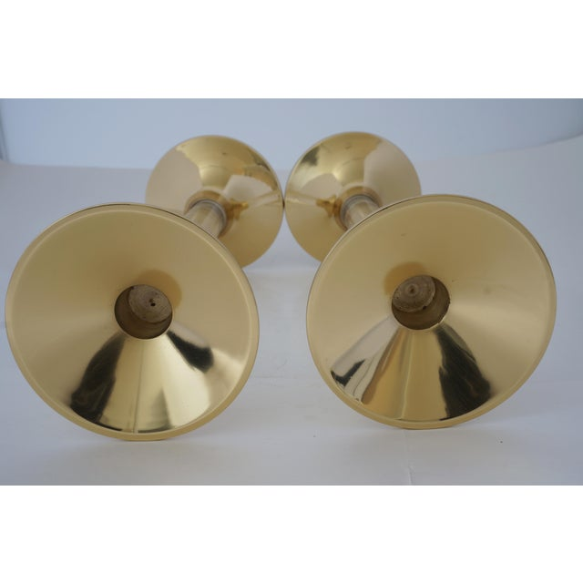 Vintage Candle Holders Lucite and Polished Brass Candlesticks - a Pair For Sale - Image 9 of 12